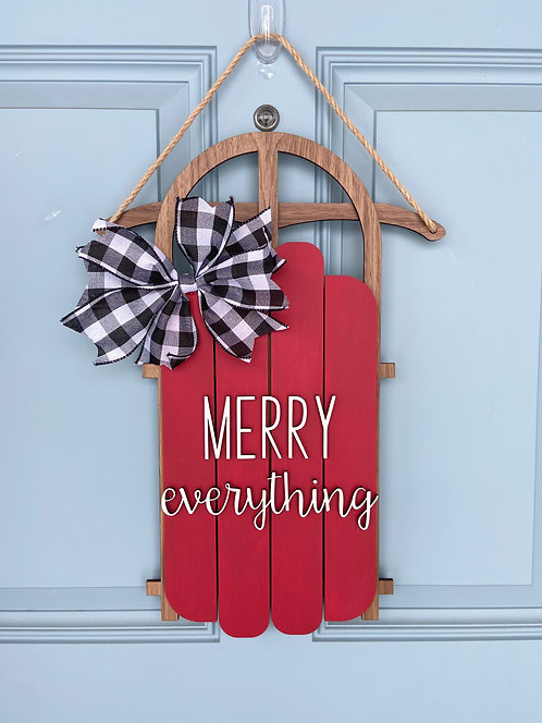 Merry Everything Sled Door Hanger