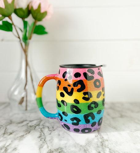 Rainbow Leopard Print 14oz Coffee Tumbler