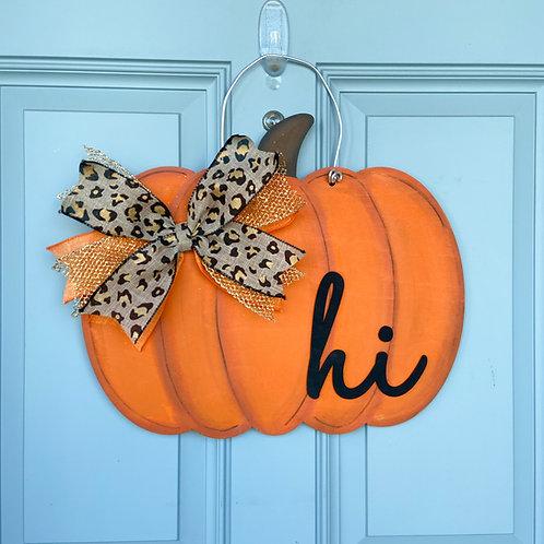 Pumpkin Door Hanger w/ Bow