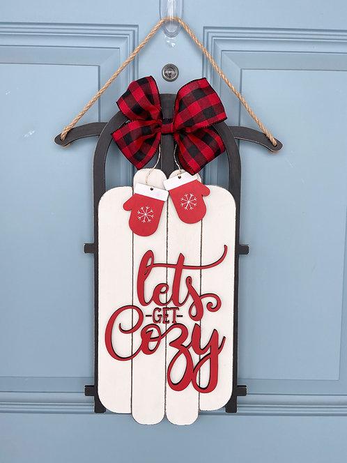 Let's Get Cozy Sled Door Hanger
