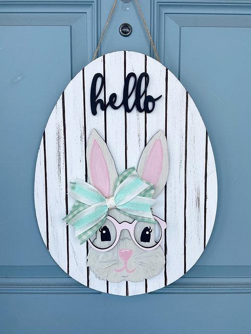 Spring Bunny Door Hanger - White Shiplap/Mint & Cream Bow