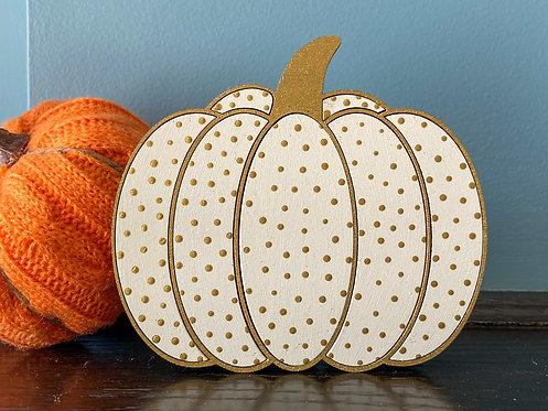 Cream & Gold Polka Dot Pumpkin (Small)