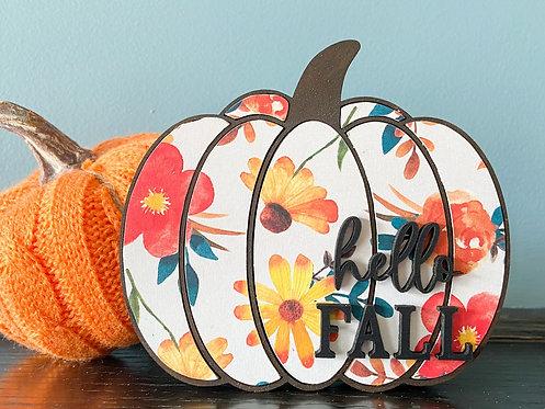 Hello Fall - Autumn Leaves Pumpkin (Small)
