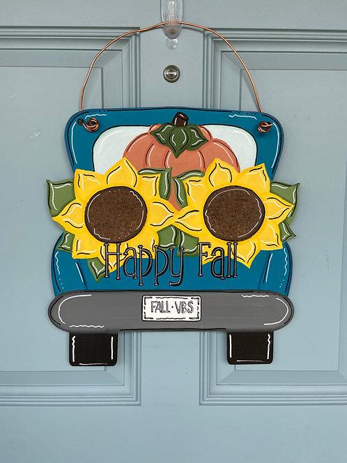 Fall Truck w/ Sunflowers & Pumpkin Door Hanger