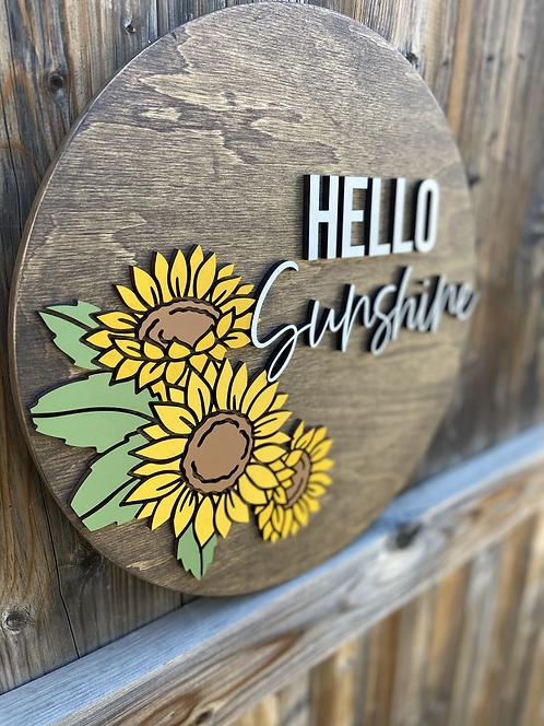 Hello Sunshine Sunflower Sign