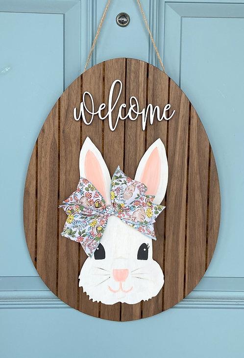 Spring Bunny Door Hanger - Walnut Shiplap/Floral Bow