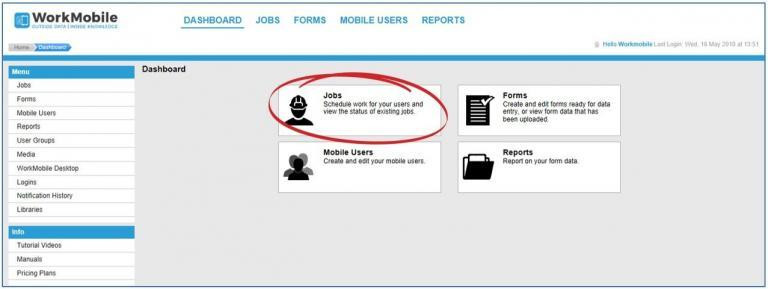 Jobs highlighted within dashboard