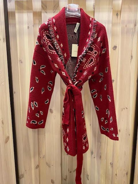 Cardigan bandana rosso
