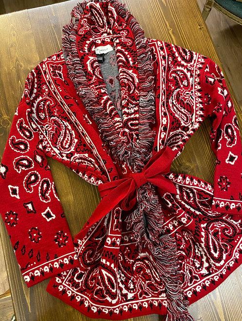 Cardigan Vicolo rosso bandana