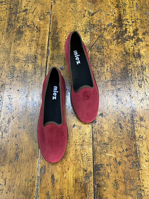 Friulane in velluto color cardinale