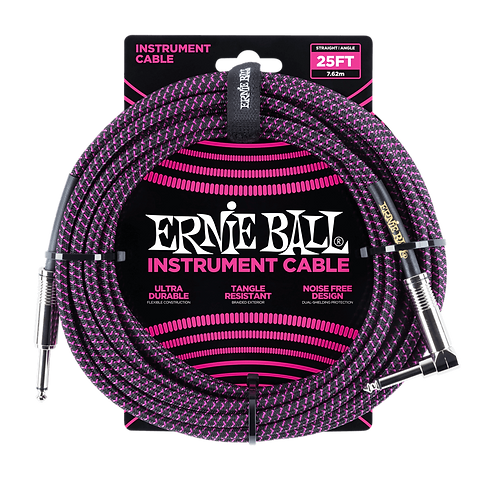 25' BRAIDED STRAIGHT / ANGLE INSTRUMENT CABLE - BLACK / PURPLE