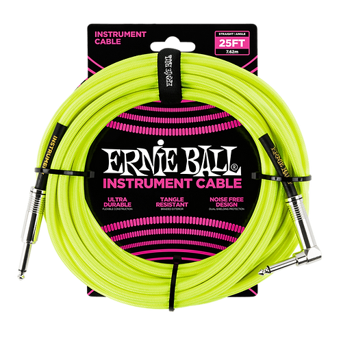 25' BRAIDED STRAIGHT / ANGLE INSTRUMENT CABLE NEON - YELLOW