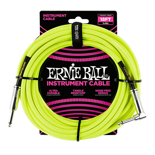 18' BRAIDED STRAIGHT / ANGLE INSTRUMENT CABLE NEON - YELLOW
