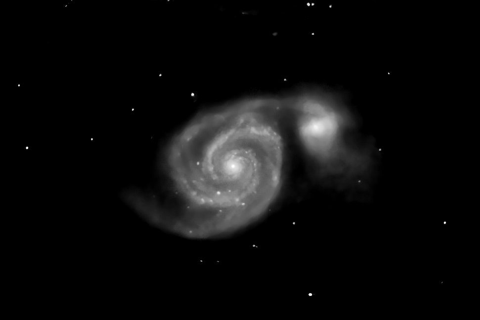 M51 taken with an amateur telescope from a city balcony.
