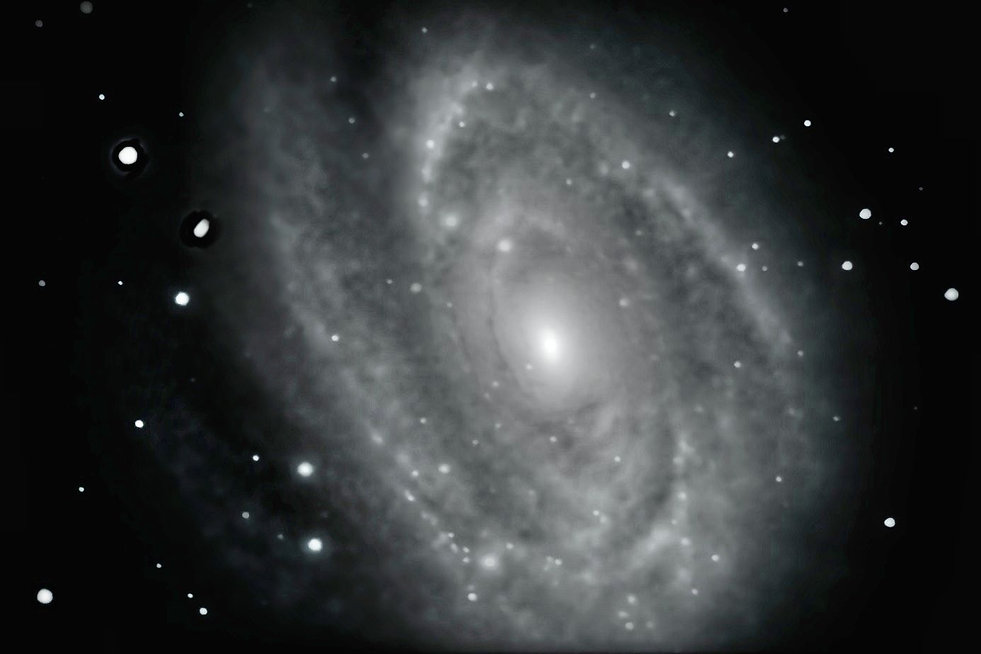 M81 taken with an amateur telescope from a city balcony.