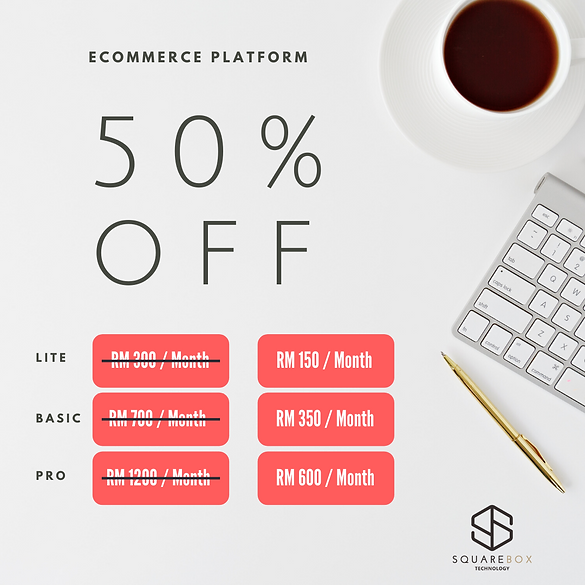 Squarebox Technology eCommerce Platform 50% Off