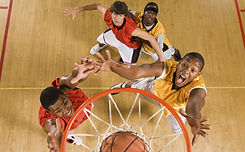 High angle view of basketball player dun