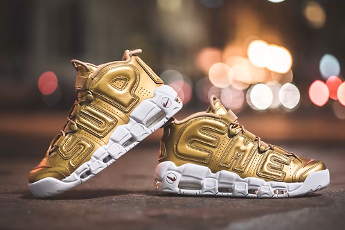 Supreme x Air More Uptempo 'Metallic Gold'