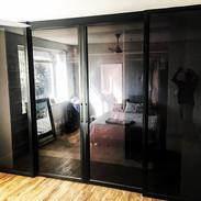 Steel doors - charcoal tint