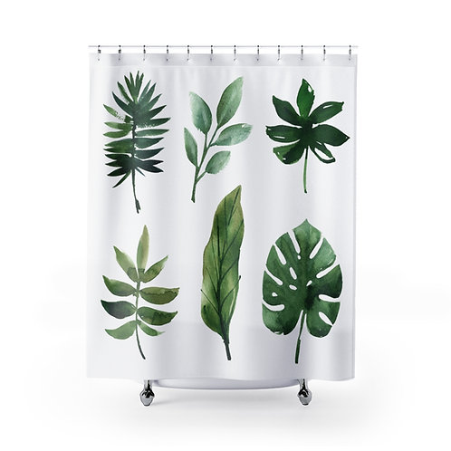 Botanical Shower Curtain | Watercolor Leaves Unique Bathroom Décor