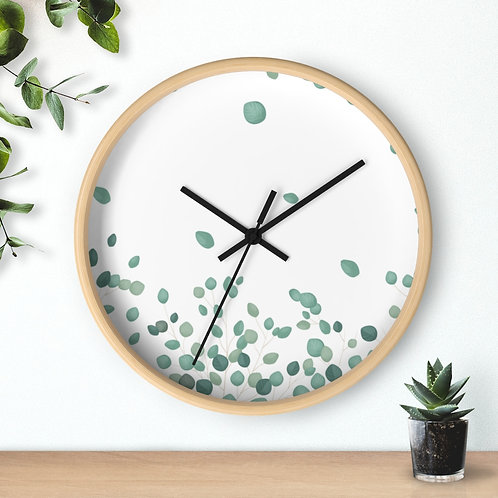 Green Fall Leaves Round Minimalist Wooden Wall Clock