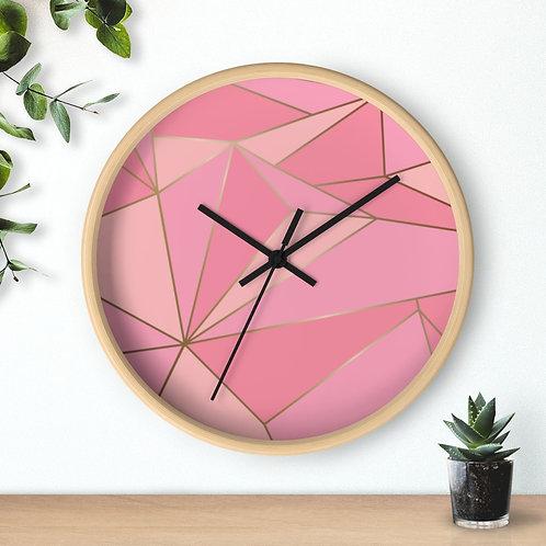 Pink Mosaic  Roun Wooden Wall clock