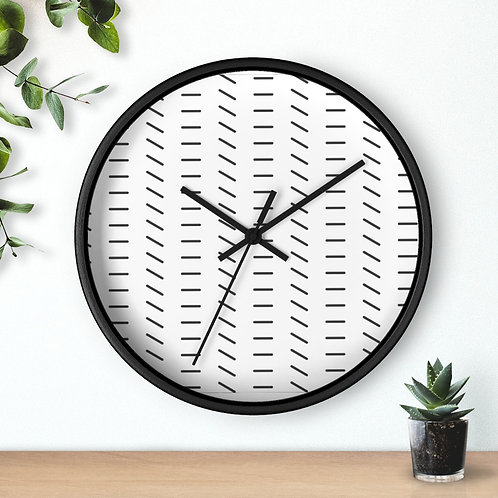 Round Minimalist Wooden Wall Clock | Black & White Lines Pattern