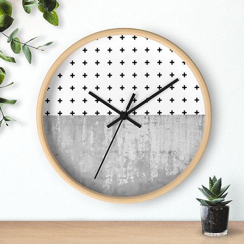 Round Minimalist  Wooden Wall Clock | Black & White Cross Pattern