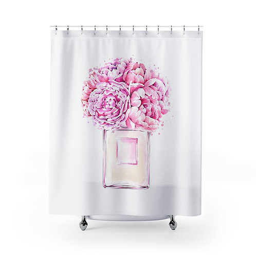 Copy of Pink Floral Watercolor Shower Curtain |  Unique Bathroom Décor