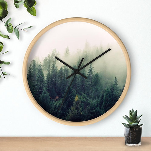 Foggy forest, Round Wooden Wall clock