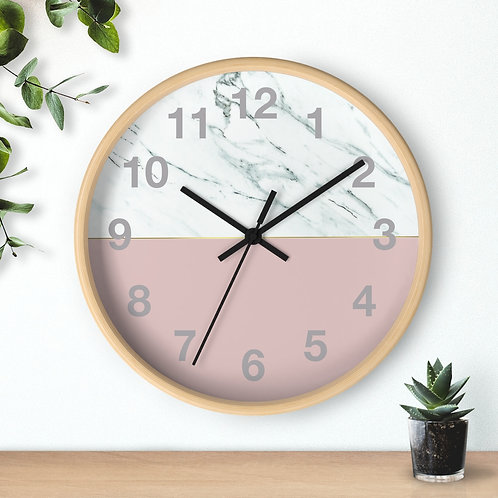 Wall clock, Marble Effect, Blush Pink