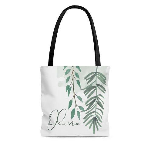 Botanical Personalized Tote Bag   Custom Name Tote