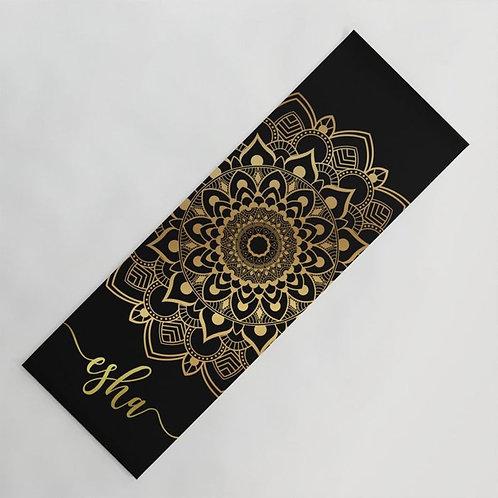 Personalized Gold and Black Mandala Yoga Mat