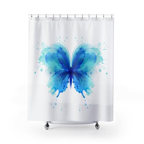 Blue Watercolor Butterfly Shower Curtain | Unique Bathroom Décor
