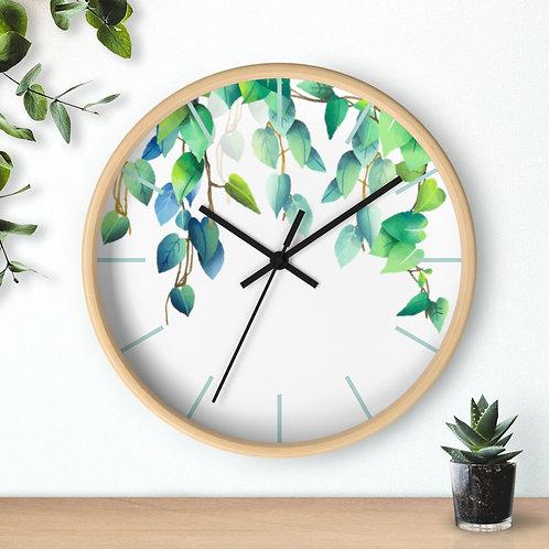 Green Fall Leaves Round Minimalist Wooden Wall Clock