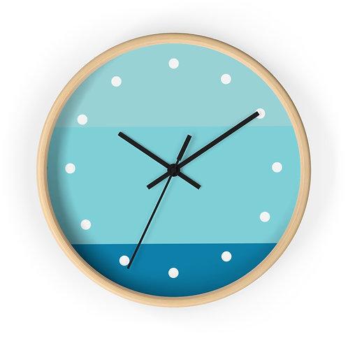 Blue Tones Wooden Wall Clock