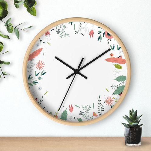 Wall clock, floral elements