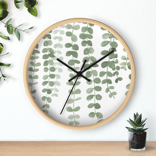 Leaves and Branches < Round Wooden Wall Clock > Minimal Decor