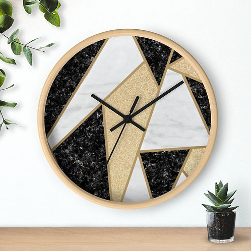 Marble Mosaic  Round Wooden Wall clock