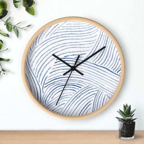 Blue  watercolor , ocean waves , round Wall clock