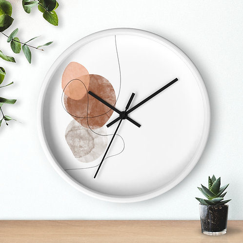 Minimalist Wooden Wall Clock | Line Art and watercolor | Round Salient Clock