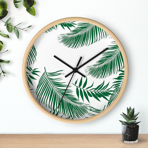 Wall clock, tropical leaves