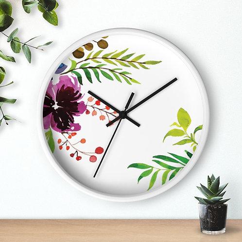 Minimalist Floral Round Wooden Wall clock