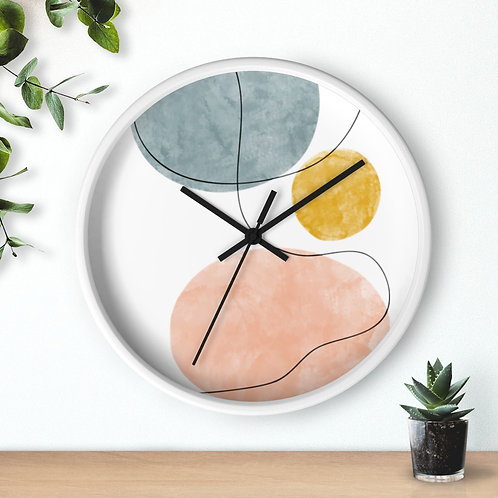 Abstract Art  Wooden Wall Clock | Line Art and Watercolor | Round Salient Clock