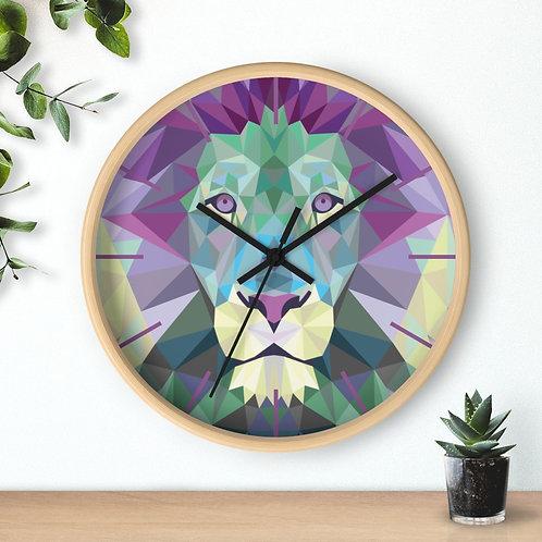 Round Wall clock, Polygonal lion
