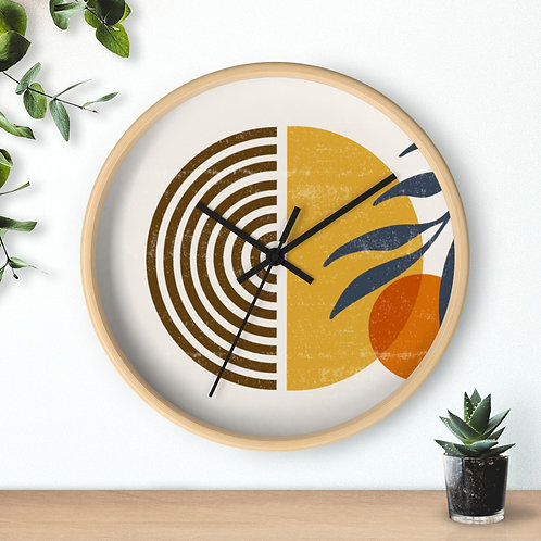 Abstract art wall clock | Wooden wall clock | Silent round wall clock