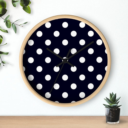 Black and White Polka Dots Round Wall Clock