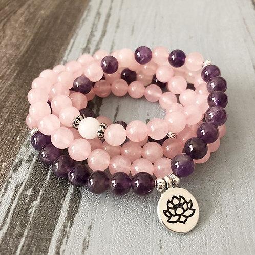 Woman Mala Necklace & Bracelet |  Rose Quartz   |108 Beads