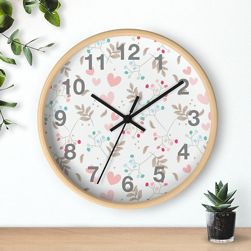 Delicate tiny flowers and hearts,  Round Wooden Wall clock