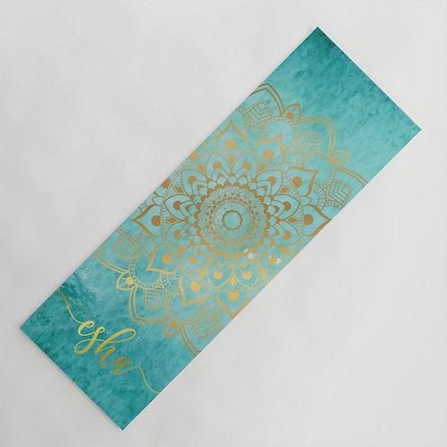 Mandala Gold and Turquoise Yoga Mat